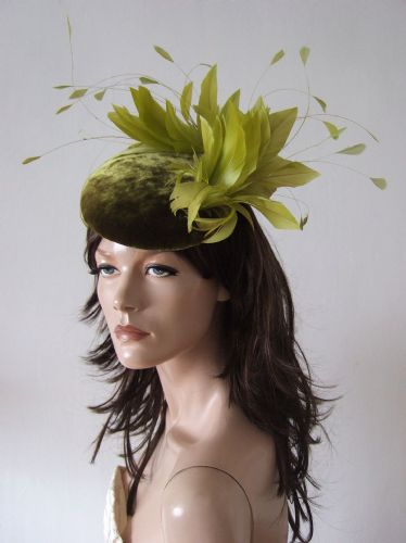 "Olive Green Velvet Feathers Smartie Cocktail Hat Headpiece Fascinator Hat ""Enya"" Winter Weddings"